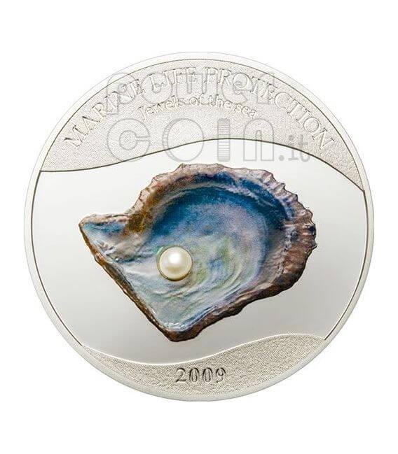 PEARL Jewels Of The Sea Marine Life Silber Münze 5$ Palau 2009