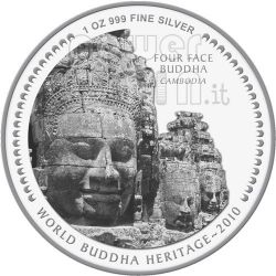 FOUR FACE BUDDHA World Heritage Silber Münze Bhutan 2010