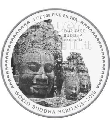 FOUR FACE BUDDHA World Heritage Moneta Argento Bhutan 2010