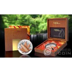JAPANESE MAPLE 3D Золото Leaf Collection 1 Oz Серебро Монета 5$ Токелау 2017