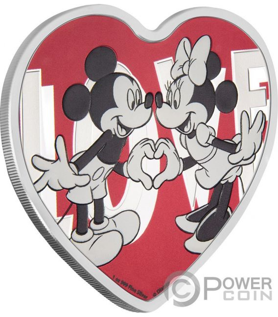 LOVE Forma Cuore Topolino Minni Disney 1 Oz Moneta Argento 2$ Niue 2018