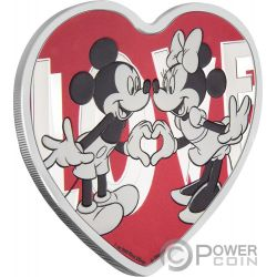 LOVE Heart Shape Mickey Minnie Mouse Disney 1 Oz Silver Coin 2$ Niue 2018
