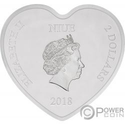 LOVE Forma Corazon Mickey Minnie Mouse Disney 1 Oz Moneda Plata 2$ Niue 2018