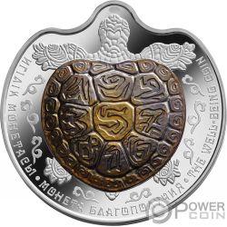 WELL BEING Schildkröte Tantal Bimetallic Silber Münze 100 Tenge Kazakhstan 2017