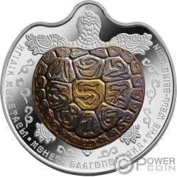 WELL BEING Tortuga Tantalo Bimetalico Moneda Plata 100 Tenge Kazakhstan 2017