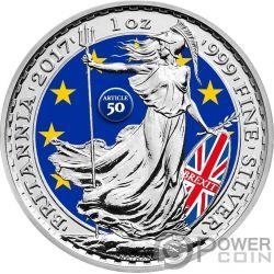 BREXIT Britannia 1 Oz Moneta Argento 2£ Sterline Regno Unito 2017