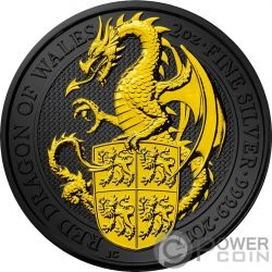 DRAGON Queen Beasts Golden Ruthenium 2 Oz Silver Coin 5£ United Kingdom 2017