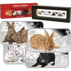 RABBIT Lunar Year Rectangle 4 Four Coin Set 1$ Cook Islands 2011