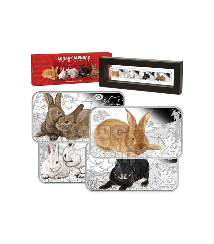 Perth Mint 2011 Year of RABBIT 4 x 1oz Coin Rectangle Color Silver Proof Set