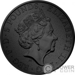 DRAGON Queen Beasts Golden Ruthenium 2 Oz Серебро Монета 5£ Великобритания 2017