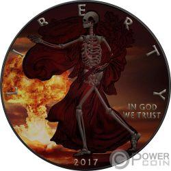SKELETAL EAGLE Scheletro Armageddon Nuke Walking Liberty 1 Oz Moneta Argento 1$ USA 2017