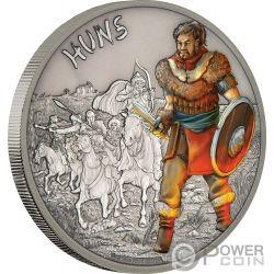 HUNS Guerrieri Unni Warriors of History 1 Oz Moneta Argento 2$ Niue 2017
