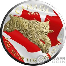 LYNX Gilded Flag 1 Oz Silver Coin 5$ Canada 2017