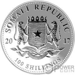 ELEPHANT Elefante Rutenio Shadows 1 Oz Moneda Plata 100 Shillings Somalia 2017