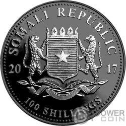 ELEPHANT Elefante Rutenio Enigma 1 Oz Moneda Plata 100 Shillings Somalia 2017