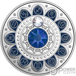 SAGITTARIUS Zodiac Swarovski Crystal Silver Coin 3$ Canada 2017