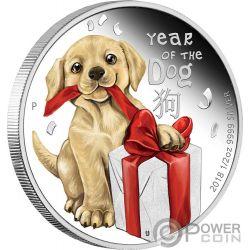 BABY DOG Cucciolo Cane Lunar Year 1/2 Oz Moneta Argento 50 Centesimi Tuvalu 2018