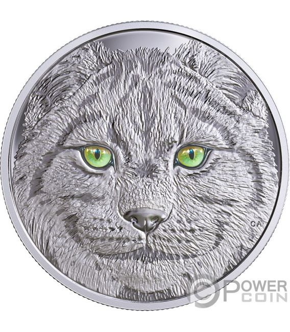 LYNX In The Eyes Of The Glow In The Dark Silver Coin 15$ Canada 2017