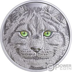 LYNX In The Eyes Of The Glow In The Dark Moneda Plata 15$ Canada 2017