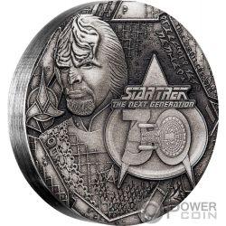 LIEUTENANT COMMANDER WORF Star Trek Next Generation 30 Aniversario 2 Oz Moneda Plata 2$ Tuvalu 2017
