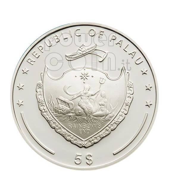 PEARL Jewels Of The Sea Marine Life Silver Coin 5$ Palau 2009