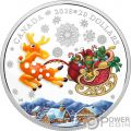 HOLIDAY REINDEER Murano Glass 1 Oz Silver Coin 20$ Canada 2018