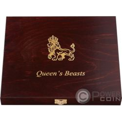 WOODEN CASE Cofanetto Legno Queen Beasts Series 2 Oz Display 10 Monete Argento Espositore