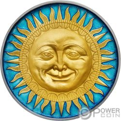 SUN Sole Celestial Bodies 2 Oz Moneta Argento 5$ Niue 2017