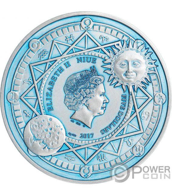 MOON Luna Celestial Bodies 2 Oz Moneda Plata 5$ Niue 2017