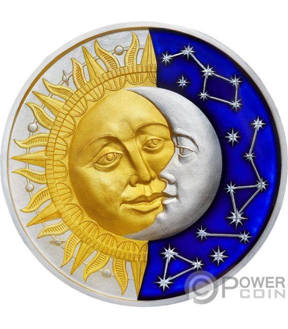 SUN AND MOON Celestial Bodies 2 Oz Серебро Монета 5$ Ниуэ 2017