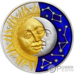 SUN AND MOON Sol Luna Celestial Bodies 2 Oz Moneda Plata 5$ Niue 2017