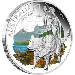 TASMANIA CELEBRATE AUSTRALIA 1 Oz Moneta Argento Proof 1$ 2010