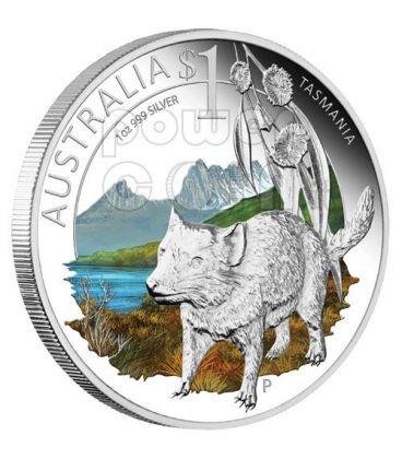 TASMANIA CELEBRATE AUSTRALIA 1 Oz Moneta Argento Proof 1$ 2010