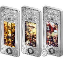 BERLIN CATHEDRAL Giant Windows of Heaven 3x3 Oz Серебро Монеты 20$ Острова Кука 2017