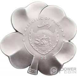 SILVER FORTUNE Four Leaf Clover Shape 1 Oz Silver Coin 5$ Palau 2018