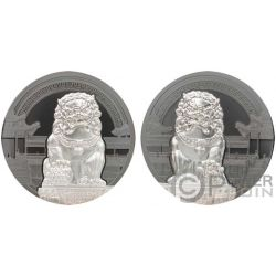 CHINESE GUARDIAN LIONS 2x2 Oz Silver Coins 10$ Palau 2017