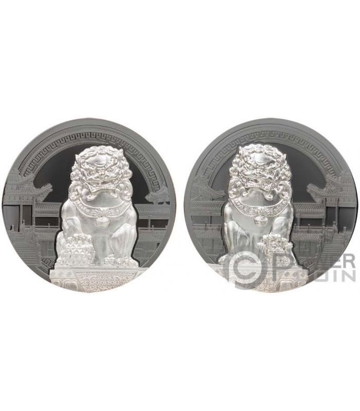 Chinese Guardian Lions 2x2 Oz Silver Coins 10 Palau 2017