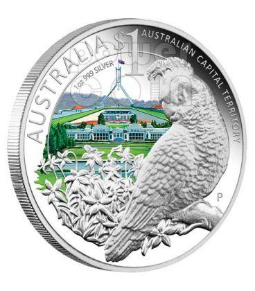 CELEBRATE AUSTRALIA CAPITAL 1 Oz Moneta Argento Proof 1$ 2010