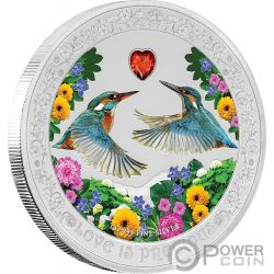 KINGFISHER Martin Pescatore Love is Precious 1 Oz Moneta Argento 2$ Niue 2018