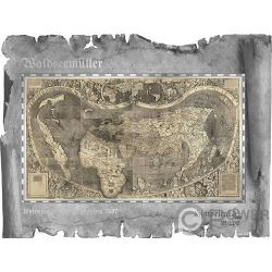 WALDSEEMULLER Historical Maps Foil Silver Note 5$ Cook Islands 2018