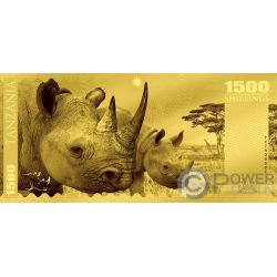 RHINO Nashorn Big Five Folie Gold Note 1500 Shillings Tanzania 2018