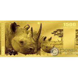 RHINO Rinoceronte Big Five Foil Billete Oro 1500 Shillings Tanzania 2018