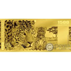LEOPARD Leopardo Big Five Foil Banconota Oro 1500 Shillings Tanzania 2018