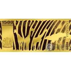 LEOPARD Leopardo Big Five Foil Billete Oro 1500 Shillings Tanzania 2018