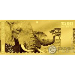 ELEPHANT Elefante Big Five Foil Billete Oro 1500 Shillings Tanzania 2018