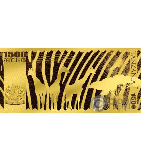 ELEPHANT Elefant Big Five Folie Gold Note 1500 Shillings Tanzania 2018