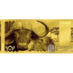 BUFFALO Büffel Big Five Foil Gold Note 1500 Shillings Tanzania 2018