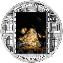HOLY NIGHT Carlo Maratta 3 Oz Silver Coin 20$ Cook Islands 2010