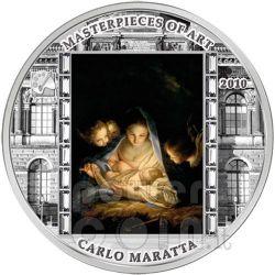SANTA NOTTE Carlo Maratta 3 Oz Moneta Argento 20$ Cook Islands 2010