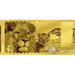 LION Löwe Big Five Foil Gold Note 1500 Shillings Tanzania 2018